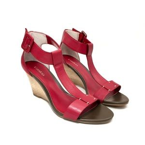 Caslon Red Leather T-Strap Wedge Sandals